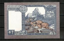 Nepalese Rupee.  UNC,  Deux Photos, Recto Verso - Népal