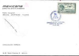J) 1983 MEXICO, FIRST AERIAL LINE OF LATINOAMERICA FLIGHT INAUGURAL, MEXICO-ZACATECAS-TIJUANA, SPECIAL CANCELLATION, EAG - Mexico