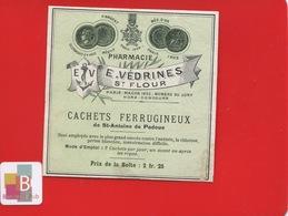 ST SAINT FLOUR   Pharmacien VEDRINES   ETIQUETTE ANCIENNE PHARMACIE Cachets St Antoine Padoue  CIRCA 1900 - Etichette