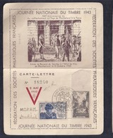 Carte Lettre Journée Du Timbre 1945 Montbeliard Repiquage Liberation  Oradour - Liberación