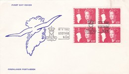 1980 NORWAY FDC. GODTHAB NUK. STAMPS BLOCK- BLEUP - FDC