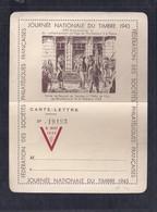 Carte Lettre Journée Du Timbre 1945 Montbeliard Repiquage Liberation - Liberación