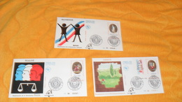 LOT DE 3 ENVELOPPES  FDC DE 1989.../ BICENTENAIRE DE LA REVOLUTION FRANCAISE..LIBERTE, EGALITE, FRATERNITE...CACHETS PHI - FDC