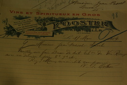 Facture Lettres  Eau De Vie Vin Spiritueux Fooster Maranville 1914 - Levensmiddelen