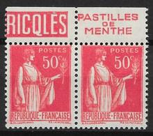 FRANCE PAIRE PAIX N° 283 AVEC PUB RICQLES PASTILLES DE MENTHE NEUFS ** GOMME SANS CHARNIERE - Advertising
