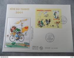 Premier Jour (FDC) Grand Format France 2001 : Fête Du Timbre, Gaston Lagaffe (feuillet) - 2000-2009
