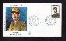 Réunion / 1971 1er Jour / Hommage Au Général Charles De Gaulle  / Cachet 974 St Denis R P - De Gaulle (Général)