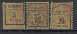 1889 Yvert Nº 3, 4, 5, - Guadalupe (1884-1947)