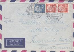 1961 GERMANY AIRMAIL COVER CIRCULEE TO ROSARIO ARGENTINE. STAMP A PAIR- BLEUP - Cartas