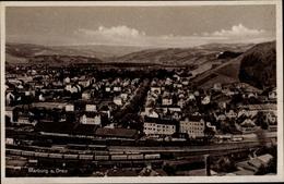 Cp Maribor Marburg Slowenien, Panoramablick Auf Die Stadt, Bahnhof, Güterwaggons - Treni