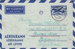 1959 AUSTRIA STAMPED STATIONERY AEROGRAMM CIRCULEE TO ARGENTINE, FULL CONTENT INSIDE, BANDELETA PARLANTE - BLEUP - Entiers Postaux