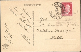 Lettland Liepaja, 5.III.43, Stempel Der Republik Während Deutscher Besatzung,, Auf 12 Pf Ostland Nach Kaleti, - Lettland
