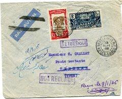 A. E. F. LETTRE DEPART BRAZZAVILLE 15 SEPT 35 MOYEN-CONGO POUR L'IRAN REEXPEDIEE A BRAZZAVILLE LE 9 JANV 36 MOYEN-CONGO - Lettres & Documents