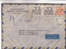 1952 SWEDEN COMMERCIAL COVER-HANDELSAKTIEBOLAGET NICOLAI JOHANNSEN. CIRCULEE TO BRAZIL, MIXED STAMPS - BLEUP - Lettres & Documents