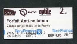 """Ticket Train / Métro / Bus / Tramway - Modèle IdF Mobilité """"Forfait Anti-pollution / 24 Juillet 2019"""" RATP / SNCF - Spoorwegen"""