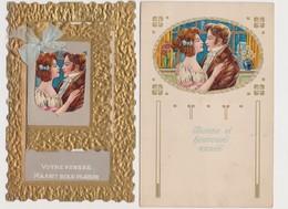 4 Cartes Fantaisie Gaufrées / Votre Pensée M'a Fait Bien Plaisir / Bonne Année - Couples