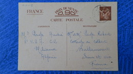 Entier Iris Mai 1941 De Miliana Algerie Pour Ballancourt - Entiers Postaux