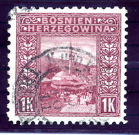 BOSNIA & HERZEGOVINA 1906 1 Kr . Perforated10½ :10½:10½:9¼  Used. Michel 42G, SG 199K - Bosnia Herzegovina