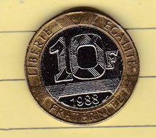 """Monnaies & Billets > Monnaies > France > """"10 Francs Bastille"""" 1988 >coin Tourné (15) - France"""