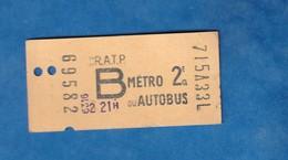 Ticket De Métro / Autobus - 715A33L - RATP - 2e Classe - Billet N° 69582 - Metro