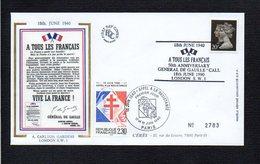 France / 1990 1er Jour / 50° Ann. De L'Appel Du 18 Juin Du Général De Gaulle  / Cachet Paris Et Londres London - De Gaulle (Général)