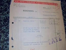 Facture Pays Bas ZUID LIMBURG KLEIVERKOOPKANTOOR Annèe 1957à NUth - Pays-Bas