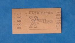 Ticket De Métro - 703 A 51 L - RATP - X- 2e Classe - Billet N° 18986 - Metro