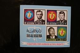 Ras Al Khaima Human And Civil Rights Lincoln King JFK Souvenir Sheet Imperforate Block MNH 1968 A04s - Ras Al-Khaima