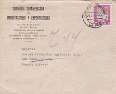 1949 BOLIVIA COMMERCIAL COVER-COMPAÑIA SUDAMERICANA DE IMPORTACIONES Y EXPORTACIONES. CIRCULEE TO ARGENTINE - BLEUP - Bolivie