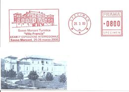 ITALIA - 2000 SASSO MARCONI (BO) Villa Francia - Ema Affrancatura Meccanica Rossa Red Meter SPECIMEN - 292 - Autres