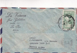 1949 BOLIVIA COMMERCIAL COVER-LA VIENESA. CIRCULEE TO ARGENTINE- BLEUP - Bolivie