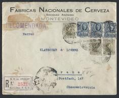 1URUInternational Registered Valuable Closed Letter. Post Office 1934 Montevideo (Uruguay) Prague (Czechoslovakia). - Tschechoslowakei/CSSR
