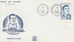 Enveloppe   FDC   1er  Jour   T.A.A.F    Martin  DE  VIVIES   1983 - FDC