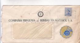 1951 URUGUAY COMMERCIAL COVER-COMPAÑIA URUGUAYA DE BEBIDAS SIN ALCOHOL. CIRCULEE, BANDELETA PARLANTE- BLEUP - Uruguay