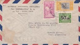 1930 BOLIVIA COMMERCIAL COVER-SOCIEDAD INDUSTRIAL AZUCARERA LA ESPERANZA CIRCULEE TO ARGENTINE, BANDELETA PARLANT- BLEUP - Bolivie