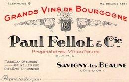 (119)  Petite Carte PUB  Savigny Les Beaune .  Paul Fellot  11X7cm  (Bon Etat) - Autres Communes