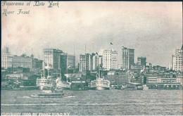 POSTAL PANORAMA OF NEW YORK - RIVER FRONT - COPYRIGHT 1900 FRANZ HULD NY - ESTADOS UNIDOS - NY - New York