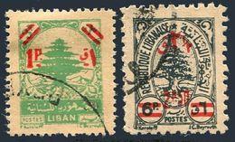 Lebanon 245-246, Used. Michel 446-447. Cedar Of Lebanon, Surcharged With New Value, 1950. - Lebanon