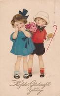 1926 FANCY CPA. HERZLICHEN GLUCKWUNSCH ZUM GEBURTSTAGE-HAPPY BDAY. CIRCULEE- BLEUP - Compleanni