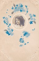 1911 CUSTOM FANCY CPA. FELIZ AÑO NUEVO. RELIEF FLOWERS PORTRAINT LITTLE GIRL- BLEUP - Douane