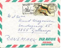 Malagasy Madagascar Air Mail Cover Sent To Denmark 27-6-1968 Single Franked Bird - Madagascar (1960-...)