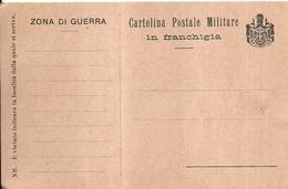 """4835""""CARTOLINA POSTALE MILITARE IN FRANCHIGIA-ZONA DI GUERRA -STEMMA REGNO D'ITALIA 1870-1890""""  ORIGINALE   NON SPED. - 1900-44 Victor Emmanuel III"""