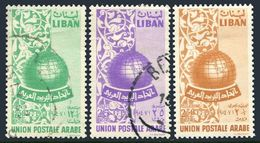 Lebanon 285-286 Used,C197 Lightly Hinged.Mi 524-526. Founding APU,1955.Globe. - Lebanon