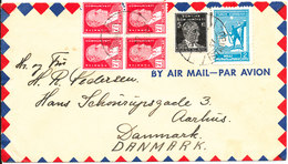 Turkey Air Mail Cover Sent To Denmark 22-7-1946 (1 Of The Stamps In The Block Of 4 Is Damaged) - 1921-... Republic