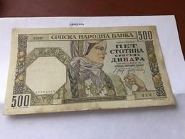 Serbia 500 Dinara Banknote 1941 - Servië