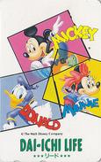 Télécarte Japon DISNEY / 110-154150 - Mickey Minnie Donald - DAI ICHI LIFE - Japan Phonecard Telefonkarte Assu - Disney