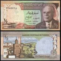 TUNISIA 1/2 DINAR P.66a 3-8-1972 UNC - Tusesië
