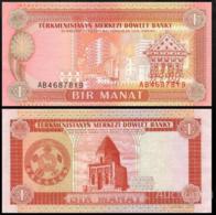 TURKMENISTAN 1 MANAT P.1 UNC PREFIX AC - Turkmenistan
