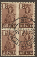 SOUTH AFRICA. POSTMARK. GERMISTON. 1942. 1 1/2d BROWN UNIT OF TWO PAIRS. - Used Stamps