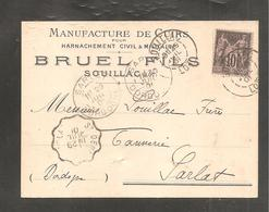 Carton  10c Sage 1901 De SOUILLAC   LOT /Manufacture De Cuirs Pour Harnachement  Civil Et Militaire - Francia